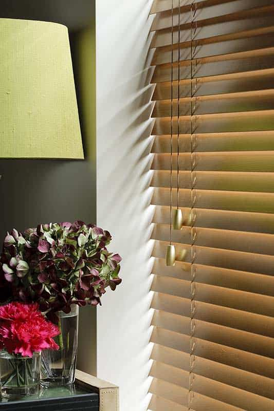 Wooden venetian blinds cardiff overlooking a potted plant and lamp in close up